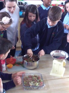 We stewed the rhubarb with fresh orange juice, sugar and a drop of water