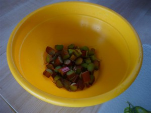 We chopped up the rhubarb into small pieces